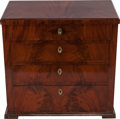 Furniture : French, A LOUIS PHILIPPE MAHOGANY VENEERED PETITE COMMODE, circa 1850.29-1/2 x 30-5/8 x 18 inches (74.9 x 77.8 x 45.7 cm). ... (Total: 2Items)