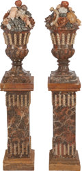 Decorative Arts, Continental:Other , A PAIR OF ITALIAN CARVED STONE URNS WITH FRUIT ON PEDESTALS, circa1900. 27-1/2 inches high x 12 inches wide (69.9 x 30.5 cm...(Total: 2 Items)