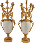 Decorative Arts, Continental:Lamps & Lighting, A PAIR OF FRENCH LOUIS XVI-STYLE GILT BRONZE AND WHITE MARBLEFIVE-LIGHT CANDELABRA, circa 1900. 36 inches high x 16 inches ...(Total: 2 Items)