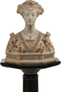 Decorative Arts, Continental:Other , AN ITALIAN PARCEL GILT AND CARVED ALABASTER BUST ON VERDE MARBLEPEDESTAL: MATELDA, 19th century. Marks: Strange, ...