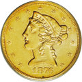 Liberty Half Eagles: , 1876-S $5 AU55 PCGS. Rich coppery-gold over luster and attractivefor this elusive issue. The surfaces show fewer circulati...