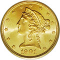 Liberty Half Eagles: , 1901/0-S $5 MS65 PCGS. A wonderful example of this overdate issue,and one of the finest seen. The undertype 0 in the date ...