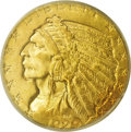 Indian Half Eagles: , 1929 $5 MS62 PCGS. The key to the Indian half eagle series, sinceall but a few dozen survivors were melted in the gold rec...