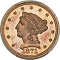 Patterns, 1871 $2 1/2 Quarter Eagle, Judd-1164, Pollock-1306, High R.7, PR65 Red and Brown PCGS. CAC....