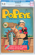 Golden Age (1938-1955):Humor, Four Color #145 Popeye - File Copy (Dell, 1947) CGC VF/NM 9.0 Off-white to white pages....