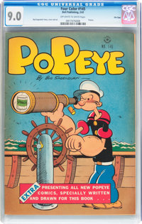 Four Color #145 Popeye - File Copy (Dell, 1947) CGC VF/NM 9.0 Off-white to white pages