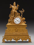 Decorative Arts, Continental:Other , A CONTINENTAL RENAISSANCE REVIVAL GILT BRONZE FIGURAL MANTEL CLOCK, circa 1875. Marks to clock mechanism: DIEBOLD, 2901, P... (Total: 4 Items)