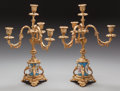 Decorative Arts, Continental:Other , A PAIR OF FRENCH SEVRES-STYLE PORCELAIN AND GILT BRONZE FOUR-LIGHTCANDELABRA, circa 1865. 16 inches high (40.6 cm). From ... (Total:2 Items)