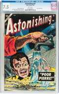 Golden Age (1938-1955):Horror, Astonishing #37 (Atlas, 1955) CGC VF- 7.5 White pages....