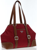 Luxury Accessories:Bags, Prada Red Tessuto & Brown Leather Tote Bag . ...