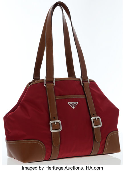 b0a43041aece5 Prada Red Tessuto   Brown Leather Tote Bag . ... Luxury