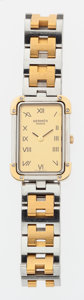Luxury Accessories:Accessories, Hermes Brushed Gold & Stainless Steel Croisiere Watch. ...