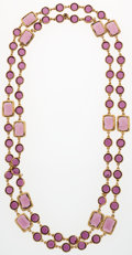 Luxury Accessories:Accessories, Chanel Purple Crystal & Gold Sautoir Necklace. ...