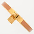 Luxury Accessories:Accessories, Hermes Beige Swift Leather Kelly Cadena Bracelet with Gold Hardware. ...