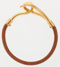 Luxury Accessories:Accessories, Hermes Natural Bridle Leather Jumbo Bracelet with Gold Hardware....