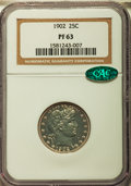 Proof Barber Quarters: , 1902 25C PR63 NGC. CAC. NGC Census: (41/146). PCGS Population (55/123). Mintage: 777. Numismedia Wsl. Price for problem fre...