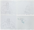 Animation Art:Production Drawing, Super Friends Superman and Wonder Woman Production DrawingAnimation Art Group (Hanna-Barbera, 1973-86).... (Total: 4 OriginalArt)