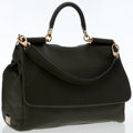 Luxury Accessories:Bags, Dolce & Gabbana Green Leather Miss Sicily Shoulder Bag. ...