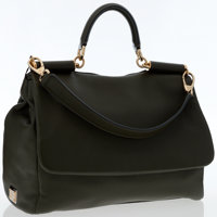 Dolce & Gabbana Green Leather Miss Sicily Shoulder Bag