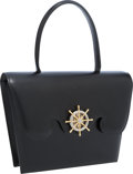 """Luxury Accessories:Bags, Hermes Black Calf Box Leather Sac Fregate Bag with Gold Hardware .Very Good Condition. 7.5"""" Width x 7"""" Height x 2""""De..."""