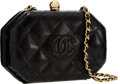 "Luxury Accessories:Bags, Chanel Black Quilted Lizard Hexagonal Evening Bag with GoldHardware. Very Good Condition . 6.5"" Width x 4"" Height x2..."
