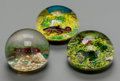 Art Glass:Muller, TWO BACCARAT AND AN ASSOCIATED INSET GLASS AQUATIC PAPERWEIGHTS,Baccarat, France, circa 1973-1974. Marks: BACCARAT, FRANC...(Total: 3 Items)
