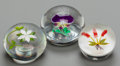 Art Glass:Other , A BACCARAT AND TWO ASSOCIATED GLASS FLORAL PAPERWEIGHTS, Baccarat,France, circa 1970. Marks to Baccarat: BACCARAT, FRANCE...(Total: 3 Items)