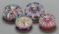Art Glass:Other , FOUR ITALIAN MILLEFIORI GLASS PAPERWEIGHTS, 20th century. 2 incheshigh x 3 inches diameter (5.1 x 7.6 cm). Property of th... (Total:4 Items)