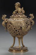 Asian:Chinese, A CHINESE GILT METAL CENSOR, 20th century. Marks: 1932.10-3/4 inches high (27.3 cm). Property of the Estate of Mr. an...(Total: 2 Items)