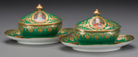 TWO SEVRES-STYLE PORCELAIN GRAVY BOATS WITH LIDS, late 19th century Marks: M. Imp le de Sèvres (red), <