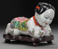 Asian:Chinese, A CHINESE FAMILLE ROSE PORCELAIN FIGURE ON A CARVED WOOD STAND,20th century. Marks: (four-character mark). 7-1/2 x 10 x 6 i...(Total: 2 Items)