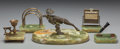 Decorative Arts, Continental:Other , AN ASSEMBLED FIVE PIECE BRONZE AND ONYX DESK SET, circa 1925. Marksto base of moose: Austria. 6 x 10-1/2 x 6-3/4 inches (15... (Total:5 Items)