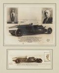 Automobilia, TWO PHOTOGRAPHS OF TRIPLEX LAND SPEED RECORD CAR AT DAYTONA BEACH.LeSesne, Richard 1928. Photo 1 - 8 x 10 inches (20.3 x 2...