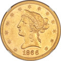 Liberty Eagles, 1866 $10 MS61+ NGC....