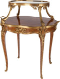 Furniture : French, A FRENCH LOUIS XV-STYLE KINGWOOD, GILT BRONZE AND MIRROR TOPPED TEATABLE, circa 1900. 37-1/2 x 32 x 23 inches (95.3 x 81.3 ...