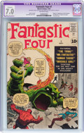 Silver Age (1956-1969):Superhero, Fantastic Four #1 (Marvel, 1961) CGC Apparent FN/VF 7.0 Moderate toExtensive (B-4) Off-white pages....