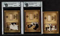 Autographs:Sports Cards, 2001 Upper Deck Hall of Famers Game Used Bat Insert CardTrio (3). ...