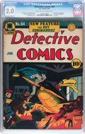 Golden Age (1938-1955):Superhero, Detective Comics #64 (DC, 1942) CGC GD 2.0 Light tan to off-white pages....