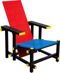 Furniture, MARIO MINALE (Italian/German, b. 1973). Red blue LEGO® chair, 2007, Droog. LEGO® bricks, aluminum frame. 33 x 24 x 33 in...