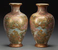Asian:Japanese, A PAIR OF JAPANESE SATSUMA PORCELAIN VASES, 20th century. Marks:(two-character mark). 19-1/2 inches high (49.5 cm). Prope...(Total: 2 Items)