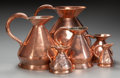 Miscellaneous, SIX ENGLISH GRADUATING COPPER MEASURES, 19th century. Marks toQuart: V (crown) R, 239, LCC. 12 inches high(30.... (Total: 6 Items)