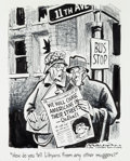 "Mainstream Illustration, BILL MAULDIN (American, 1921-2003). ""How do you tell..."" ChicagoSun-Times editorial cartoon, 1989. Ink and Conté crayon..."