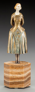 Bronze:European, A FRENCH BRONZE AND IVORY FIGURE ON MARBLE BASE AFTER CHIPARUS,circa 1920. Mark to back of skirt: BRONZE. 10 inches hig...