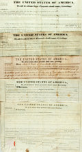 Miscellaneous:Ephemera, [Presidents]. Five Assorted Land Grants signed secretarially andspanning the years 1835 through 1858. Signed in the names o...