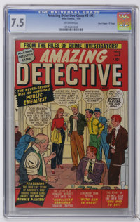 "Amazing Detective Cases #3 Davis Crippen (""D"" Copy) pedigree (Atlas, 1950) CGC VF- 7.5 Off-white pages. Highes..."