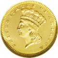 Proof Gold Dollars: , 1866 G$1 PR67 ★ Ultra Cameo NGC. Unlike dates from the 1880s, the 1866 has a very small minta...