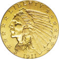 Indian Quarter Eagles: , 1911-D $2 1/2 MS62 PCGS. This low mintage key date representative is pleasing for the MS62 grade. The satin surfaces exhibi...