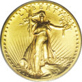 High Relief Double Eagles: , 1907 $20 High Relief, Wire Rim MS63 PCGS. A smooth and satinykhaki-gold representative of this famous and historically sig...