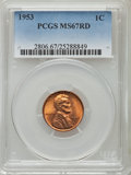 Lincoln Cents, 1953 1C MS67 Red PCGS....