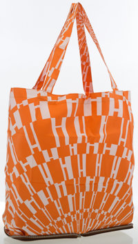 """Hermes Noisette Vache Liegee Leather & Orange and White """"Op H,"""" by Bucol Archives Silky Pop Bag"""